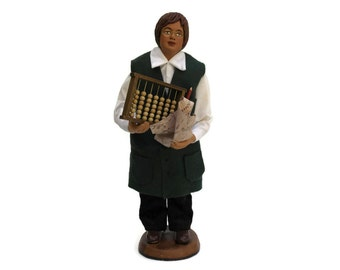 Vintage French Mathematician Santon. French Provence Terracotta Folk Art Doll. Traditional Doll. Gift for Geek.
