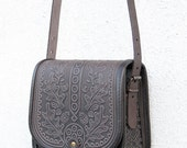 brown purple violet tooled leather bag - shoulder bag - crossbody bag - handbag - ethnic bag - messenger bag - capacious