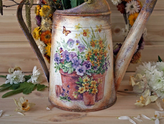 Vintage Style Watering Can Spring Flowers Rustic Style Home