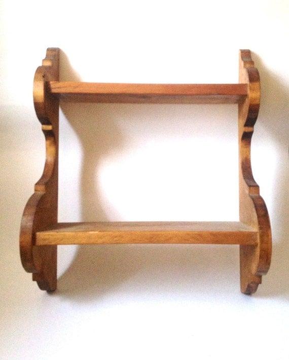 vintage wood shelf kitchen spice two tier chestnut wall. Black Bedroom Furniture Sets. Home Design Ideas