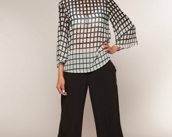 Womens Blouses, Blouse Pattern, Satin Blouse, Black and White Stripe, Handmade Clothing, Bohemian Clothing, Evening Tops, Long Sleeve Top