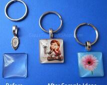Key Ring Kit, Make 10 Glass Charm Keyrings, Photo Keychain DIY kit, DIY kits (KRDIY10)
