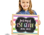1st Grade School Sign Printable , First Day of School Sign, First Day Photo Prop, Chalkboard 1st Grade Sign, 1st Day of First Grade