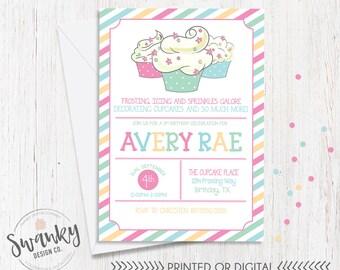 Cupcake Decorating Birthday Invitation, Cupcake Birthday Invitation, Girl Birthday Invitation, Cupcake Party Theme, Lil Cupcake Birthday