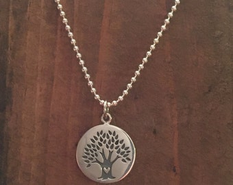 Sterling Silver Tree of Life with Heart Necklace - 18""