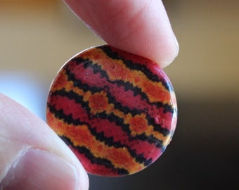 4 round printed shell beads, flat round, 20 mm x 3 mm, hole 1 mm, orange, red, and black