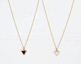 Dainty Triangle Necklace // Epoxy Necklace // Gold-Plated Necklace // Dainty Layering Necklace // dainty gold necklace // tiny gold necklace