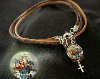 Saint Christopher Necklace, St. Christopher Necklaces Jewelry, Catholic Saints Icon, Patron Saint of Travelers, First Communion Gift