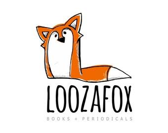 Premade Logo - Red Fox Logo Sneaky Sly Fox Animal Logo Fox Illustration Logo Design Hand Drawn Logo Custom Illustration Illustrated Logo
