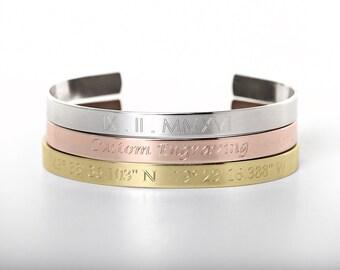 Custom Engraved Bracelet - Custom Jewelry - Sterling - Rose Gold - Gold-Filled - Engraved Bracelet - Engraved Jewelry - Custom Engraving