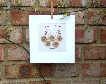 LONDON Olympics 2012 CARD - handmade with pressed natural flowers - Olympic Rings, Olympics Games