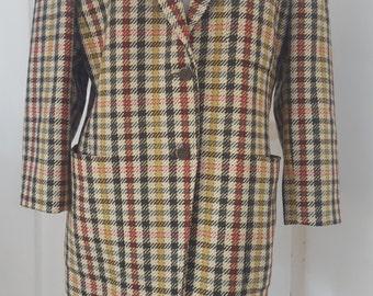 80s MaxMara Jacket / Vintage Tweed Jacket /  lined Jacket / Pure New Wool/ Check Jacket / Single Breasted / Made in Italy / UK 12