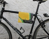 Top Tube Bike Frame Bag Cute Bicycle Accessory Upcycled Repurposed Recycled Water Resistant Vinyl Banner Rubber Inner Tube Yellow Green Gift