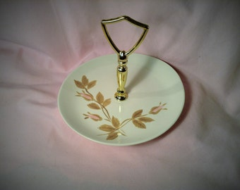 Redwing Serving Plate with Handle in Middle - Bon Bon, Tidbit, Wedding Favors - Off White Pink Floral - Catch All, Jewelry, Trinket Dish