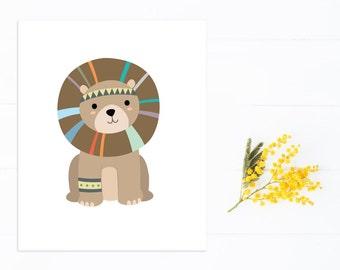 Lion Art Print, Tribal Nursery Jungle Art Print