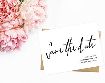Modern Save The Date, Black and White, Bold and Simple Save The Date Cards
