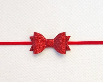 MINI Red Glitter Bow Headband   Small Red Bow   Small Red Glitter Bow   Newborn Red Bow   Red Baby Headband   Newborn Red   Mini Bow