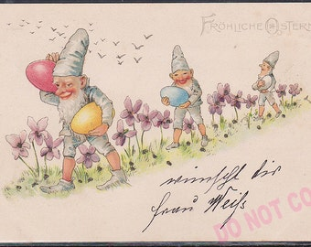 Antique original 1901 German litho postcard Gnome Elf Dwarf Egg Easter post card Glitters