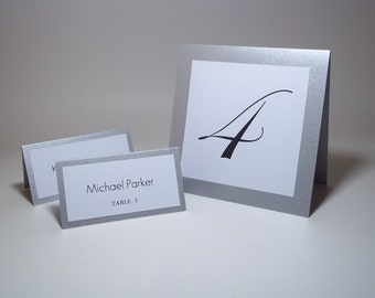 """Elegant Silver Shimmer and White Tent Table Number Cards - 5"""" x 5 """" -Wedding - Bridal Shower - Reception Decor"""