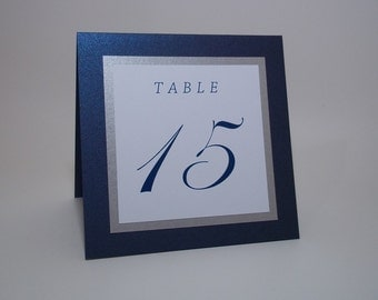 Shimmer Navy Blue, Silver and White Tent Wedding Table Number Cards - 5x5 size