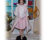 """4 Pc's """"1960's Snowy Romance"""" White Coat,Pink  Dress, White Hat & Scarf. Handmade Silkstone, Vintage and Modern  Barbie Clothes."""