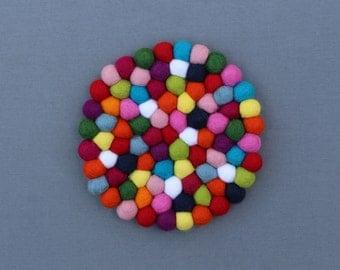 Rainbow Felt Ball Trivet // Small Placemat