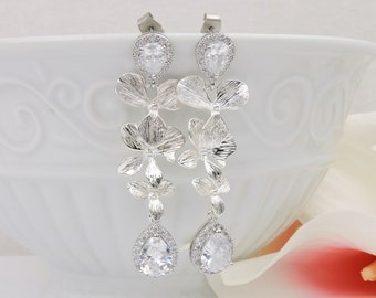 Silver Orchid And Cubic Zirconia Bridal Earrings CZ Cascading Orchid Bridal Earrings Cz Teardrop Bridal Earrings FREE US Ship