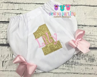 1st Birthday Diaper Cover - Birthday Baby Bloomers - Pink Gold Baby Girl Bloomers - First Birthday Diaper cover