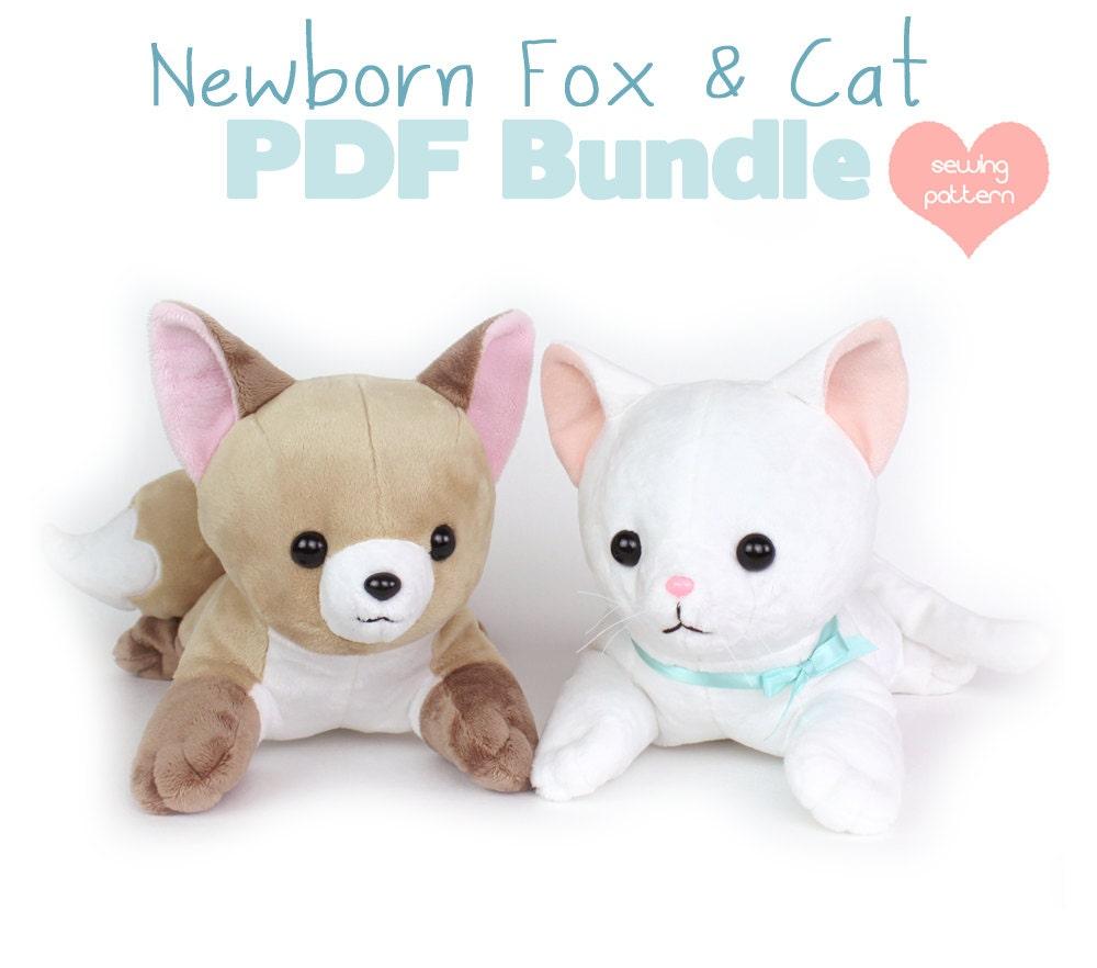 PDF sewing pattern bundle - Fox and Cat stuffed animals ...