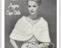 1950's Angora Cape Stole Knitting Pattern  - PDF Instant Download - PDF Cape knitting Pattern - PDF Knitting Pattern