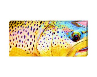"""Brown trout up close watercolor print on canvas: panoramic fly fishing portrait in bright, bold colors 8x18"""""""