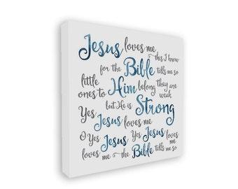 Jesus Loves Me canvas wrap, Jesus Loves Me, nursery art, Christian kids' art, baby gift, baby shower gift, new mom gift