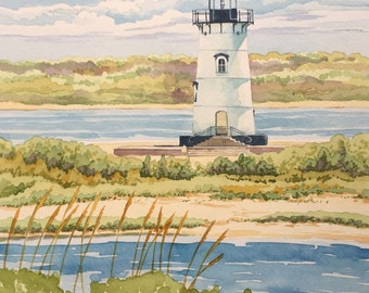 Original Lighthouse Painting - Watercolor, Nautical, Coastal, Beach House