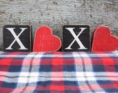 FREE SHIP XOXO Heart Valentine's Day Love Rustic Distressed Wood Block Sign Set Black