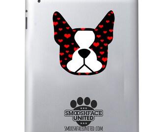Hearts Boston Terrier dog decal vinyl stickers - Boston terrier breed bias - #bostonlove