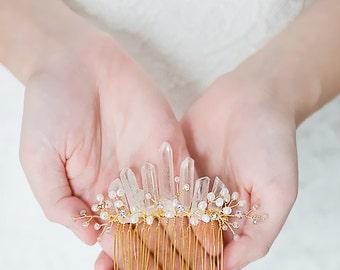 Gold Quartz Headpiece, Bridal Crystal Comb, Bohemian Quartz Crown, Fresh Water Pearl Wedding Accessory