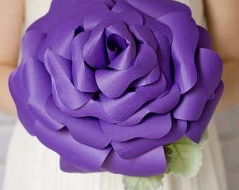 Custom Purple Eggplant Giante Paper Flower, Paper Bouquet, Handmade Flower, Alternative Bouquet, Wedding Bouquet - 12 inch
