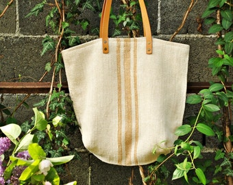 Grain Sack Shoulder Bag / Caramel Tan stripes / Antique european linen / Beach tote bag / Market handbag / Hemp handwoven fabric