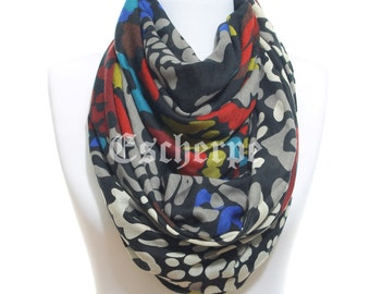 Camo Scarf Black Scarf Winter Accessory Woman Man Scarf Valentine's Day Gift For Her Woman Fashion Gift Idea Infinity Scarf Man Winter