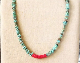 Turquoise Necklace Red Coral Beads Cowgirl Necklace Bohemian Jewelry Mens Necklace Sundance Style Rustic Jewelry Indie Folk Festival