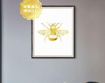 Bee Gold Foil Print Bumble Bee Art Print Honey Bee Art Gold Foil