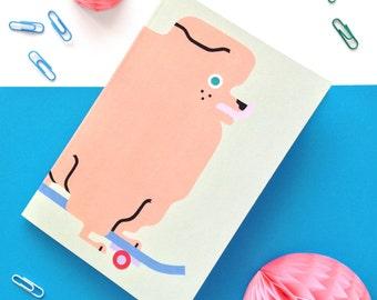 Skater Pup pomeranian A5 notebook / Hand-painted design / Illustration