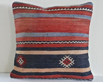 Turkish Throw Pillow  Decorative Pillow Accent Pillow Bohemian Pillow Vintage Kilim Pillow Cover Old Cushion Retro Pillow