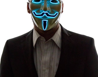 Glowing V for Vendetta, Guy Fawkes Mask, Creepy, Scary, Rave Wear, Glow in the Dark Masquerade, Light Up, LED