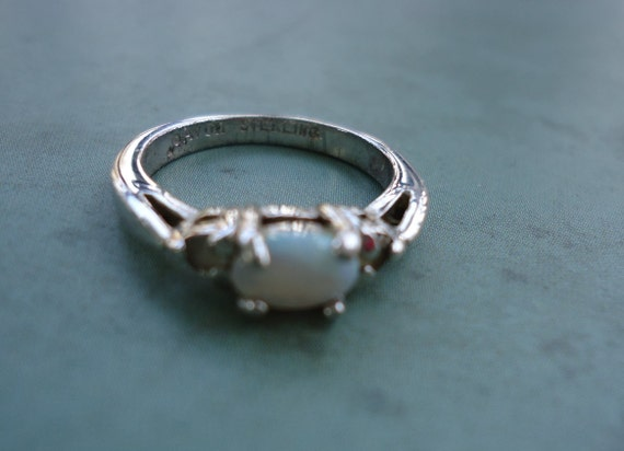 Avon Opal And Sterling Silver Ring