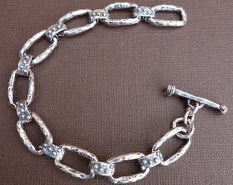 Rustic Sterling Rustic Artisan Link Bracelet/Lots of Dots/Gift for Dad