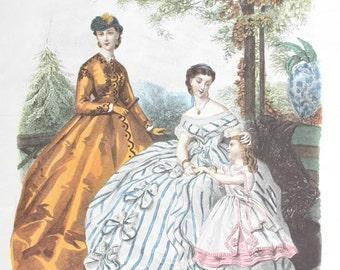 Antique French pochoir fashion print, original La Mode Illustrée fashion illustration