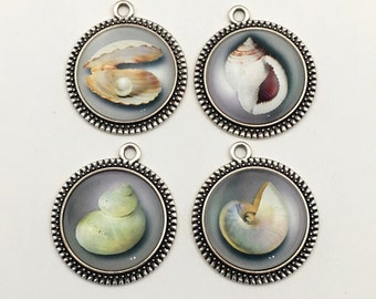 4 shell glass pendant silver tone 25mm .CH536