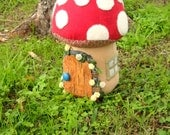 Toadstool doorstop - fairy door & window - made to order - with birch door - large size doorstop or colorful room accent