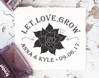 Let Love Grow- Succulent Stamp, Wedding Favors, Let Love Grow Succulents, Succulent Wedding Favors, Wedding Rubber Stamp CS-10275